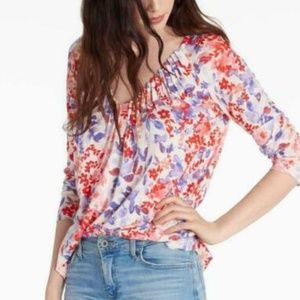 LUCKY BRAND Women's Ivory Floral Pintuck Blouse
